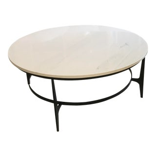 Transitional Bernhardt Avondale Round Metal Coffee Table For Sale