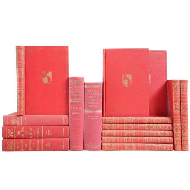 Red & Gold History of the World - Set of 15 For Sale