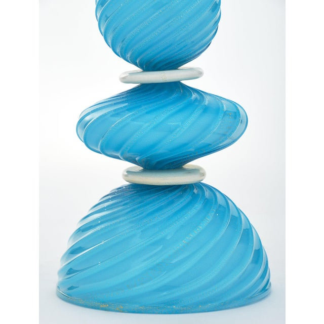 Murano Glass Turquoise Lamps For Sale - Image 4 of 10