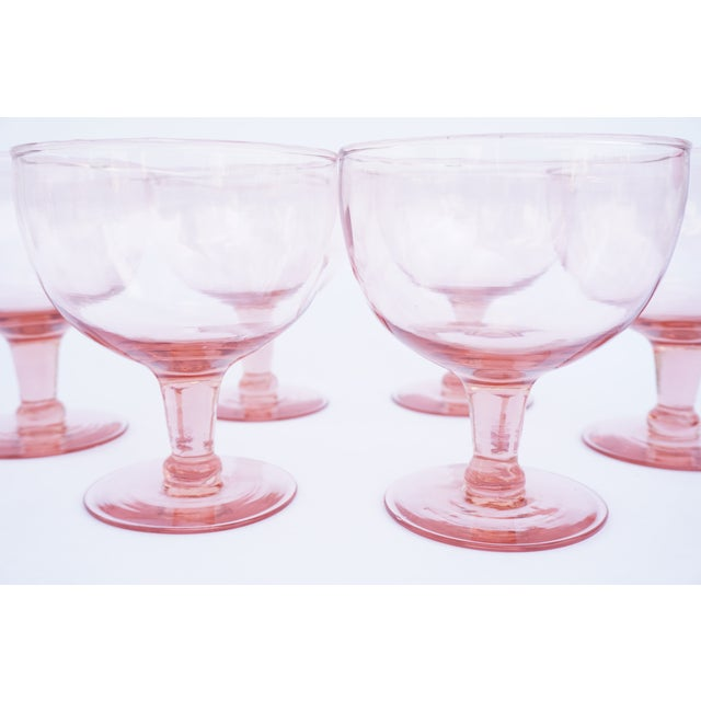 1960s Set of 6 Vintage Pink Stemmed Glasses | Wine Goblets | Champagne Coupes | Sorbet/Berry Cups | Candy Dish ||+1 Bonus Glass Included For Sale - Image 5 of 11