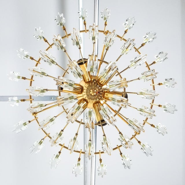Metal Italian Stilkrone Crystal Glass and Gilded Brass Flush Mount For Sale - Image 7 of 8