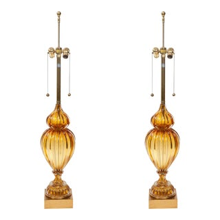 Murano Glass Lamps by Marbro - A Pair For Sale