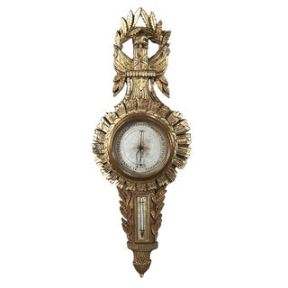 18th Century French Louis XVI Giltwood Barometer ~ Thermometer For Sale