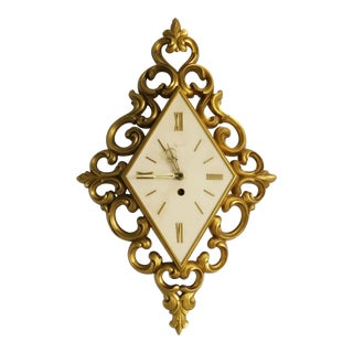 Vintage Syroco Gold Wind Up Wall Clock For Sale