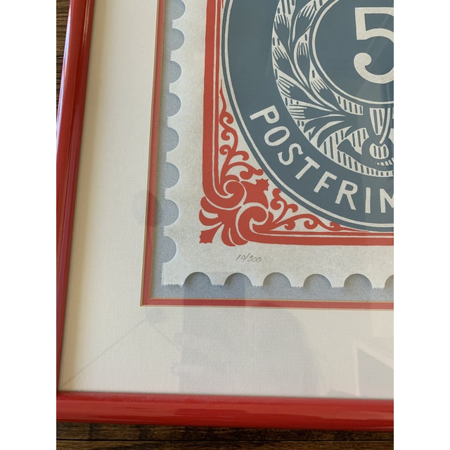 Abstract Vintage Framed Denmark Stamp, Signed and Numbered For Sale - Image 3 of 6