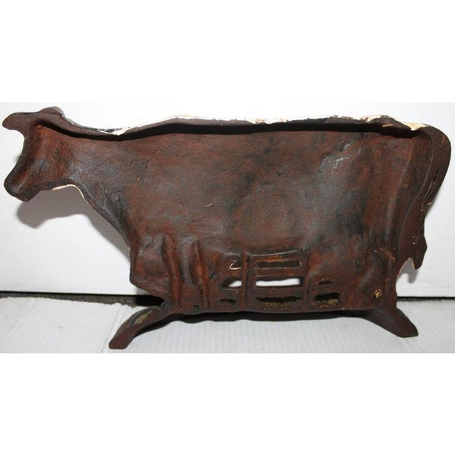 Rustic Early 20th Century Original Painted Iron Cow Doorstop For Sale - Image 3 of 5