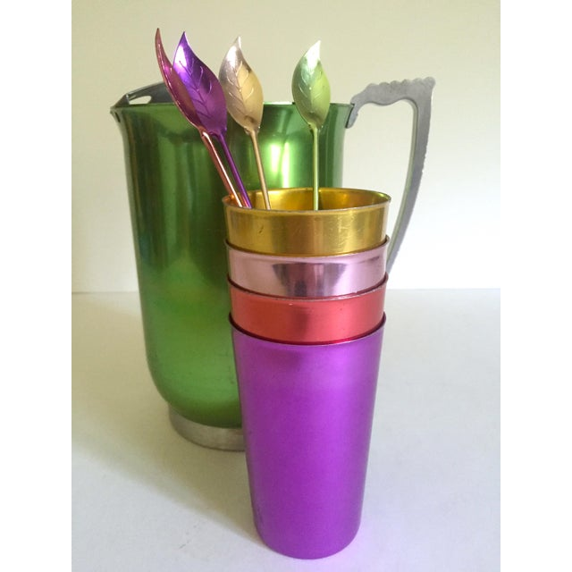 Mid 20th Century Vintage Mid Century Modern Rare Anodized Spun Aluminum Multicolor Beverage Serving Set - 9pc For Sale - Image 5 of 13