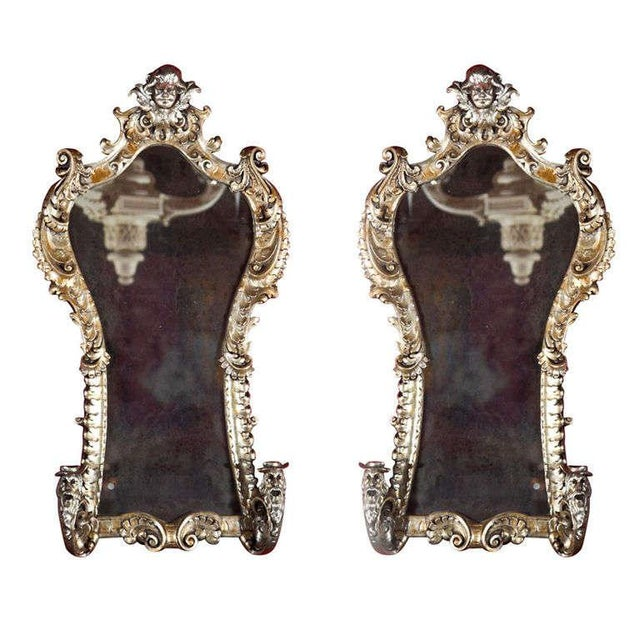 French Rococo Style Mirrored Sconces - A Pair For Sale