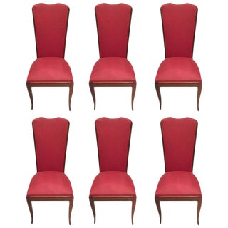 Leleu Style French Art Deco Walnut Dining Chairs - Set of 6 For Sale