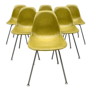 Pickle Green Modernica Case Study Fiberglass Side Chairs - Set of 6 For Sale