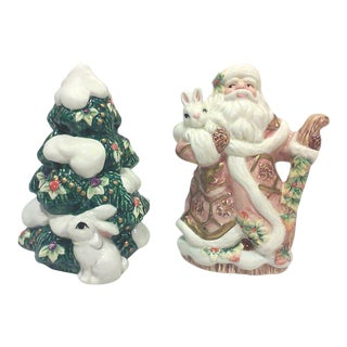 Ceramic Santa Salt and Pepper Shakers-A Pair For Sale