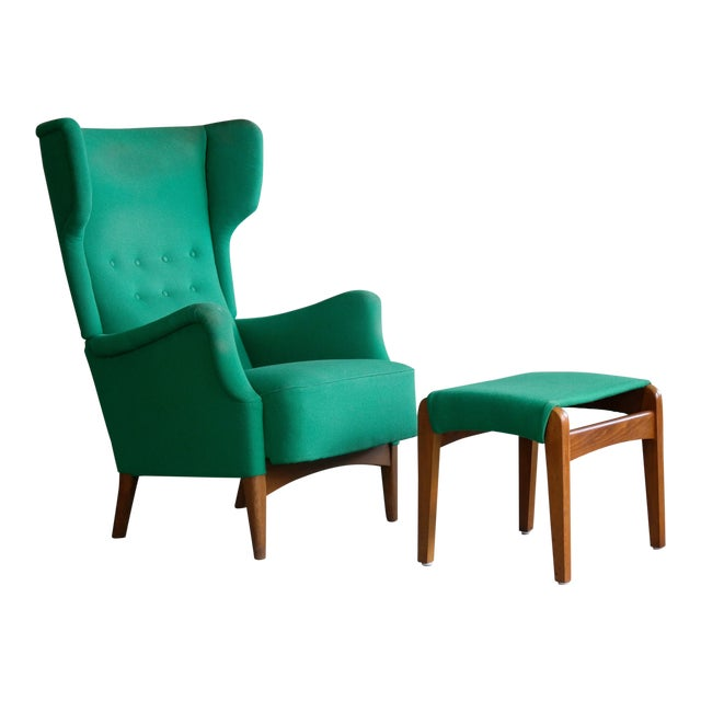 Fritz Hansen 1950s Danish Wingback Chair Model 8023 With Ottoman For Sale