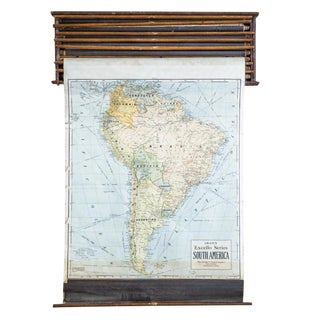 Crams 1938 South America Vintage Pull Down Map For Sale