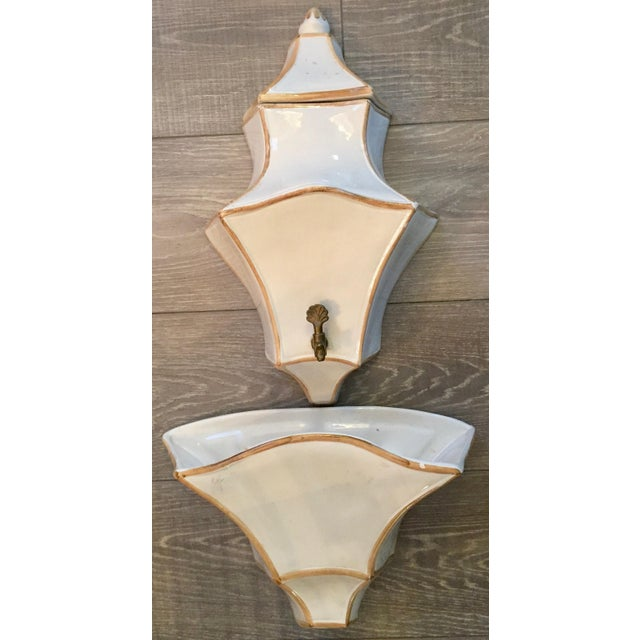 This lovely vintage Italian ceramic lavabo has three pieces; lid, body and basin, original key to open or close water flow...