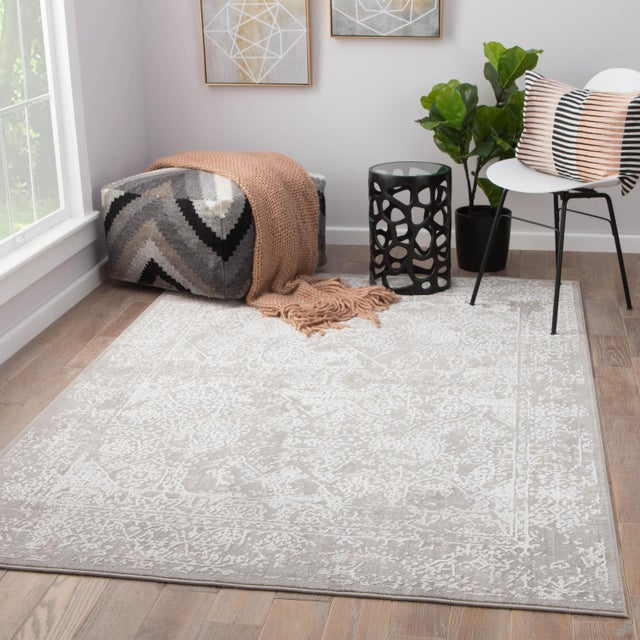 2020s Jaipur Living Lianna Abstract Gray White Round Area Rug 6'X6' For Sale - Image 5 of 10