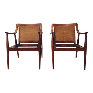 Mid Century Lounge Chairs with Cane Back Scoop Arms - a Pair For Sale