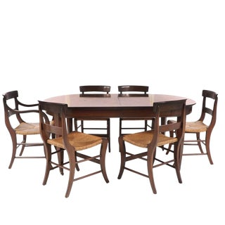 Sale!! Mid 20th Century Federal Style Mahogany Dining Set - 7 Pieces For Sale