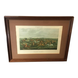 "1835 Antique Frederick Lewis ""The Quorn Hunt: Tally-Ho! And Away"" Henry Alken Colored Engraving For Sale"
