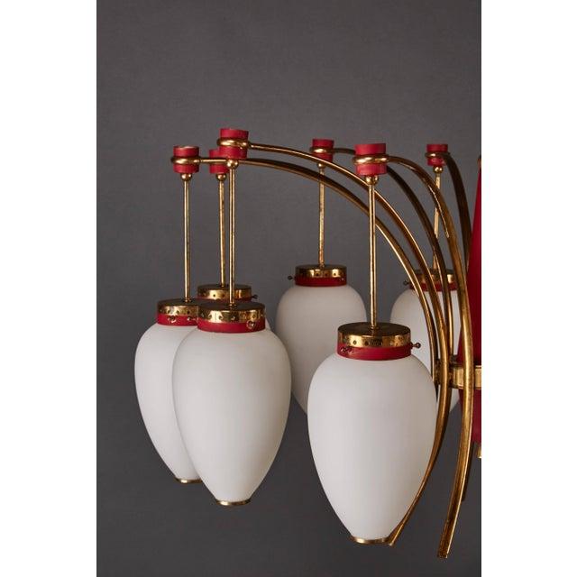 Gold Italian Stilnovo Twelve-Globe Chandelier For Sale - Image 8 of 10