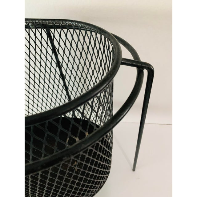 Industrial Maurice Duchin Floating Iron Mesh Wastebasket Trash Can For Sale - Image 3 of 12