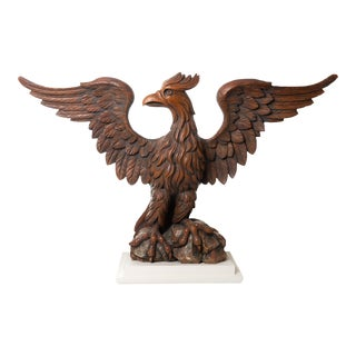 Early 19th Century Carved Wooden Eagle With Wings Spread For Sale