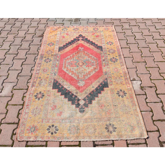 Vintage Muted Turkish Handwoven Beige Area Carpet - 3′8″ × 6′2″ - Image 2 of 6