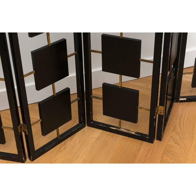 Brass & Black Lacquer Six-Panel Screen For Sale - Image 4 of 11