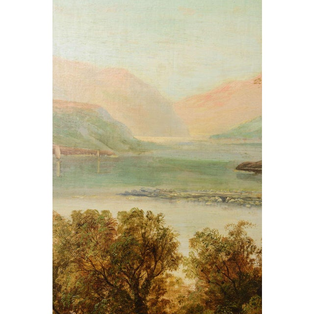 """Canvas 19th Century Oil on Board Painting, """"Loch Tyt N. B."""": Thomas Hines For Sale - Image 7 of 11"""
