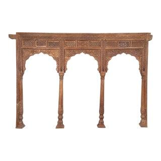 Antique Indian Carved Teak Triple Archway For Sale