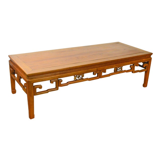 Antique Chinese Ming Style Large Hardwood Coffee Table For Sale