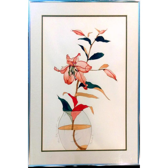 """Plum Lily in a Vase"" by Babette Eddleston - Image 1 of 8"