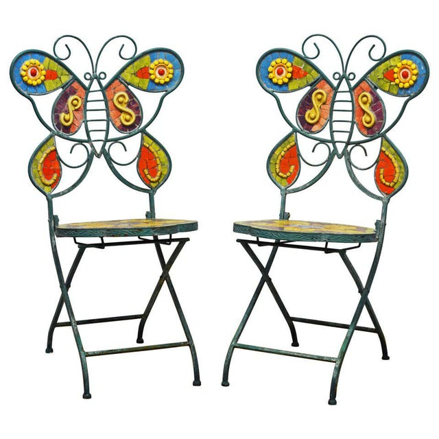 Unique Painted Iron and Inlaid Ceramic Mosaic Butterfly Chairs - a Pair For Sale - Image 13 of 13