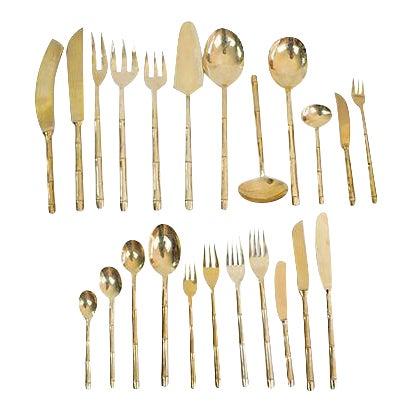 Bronze Bamboo Flatware, 100 Pcs. For Sale