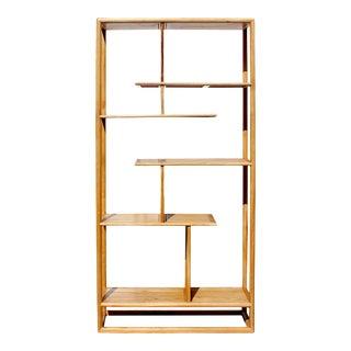 Light Natural Raw Wood Zen Minimalist Curio Display Cabinet Divider For Sale