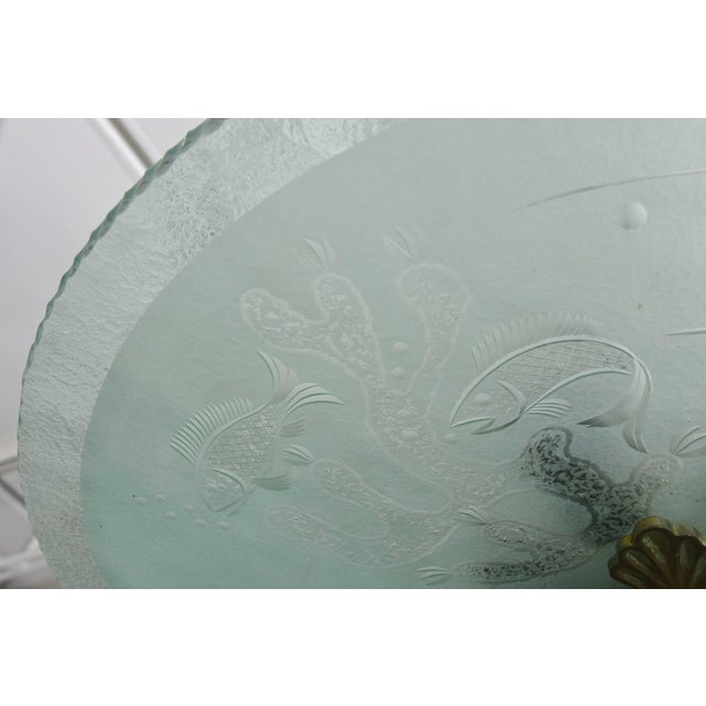 Orrefors Swedish Modern Frosted and Etched Glass Chandelier, Orrefors For Sale - Image 4 of 10
