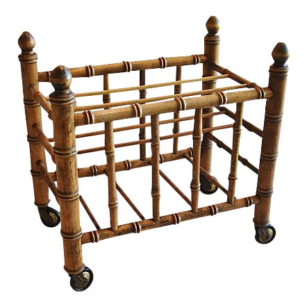1920s Carved Wooden Bamboo-Style Magazine Rack Holder - Image 1 of 11