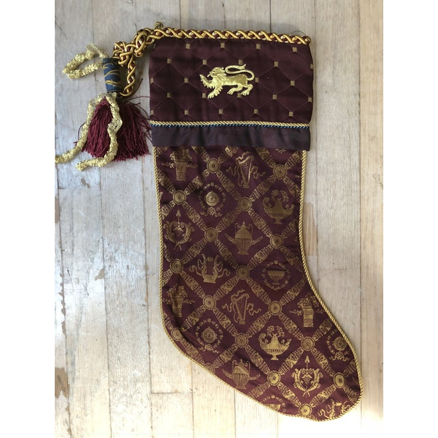 1990s christmas stocking with gold lion on cuff for sale image 5 of 5 - Gold Christmas Stocking