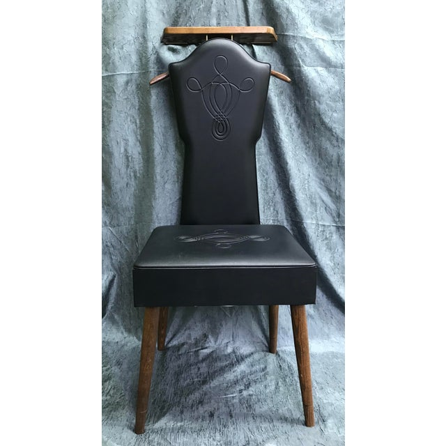 1960s Mid Century Modern Black Vinyl & Wood Butler Storage Chair For Sale - Image 10 of 10