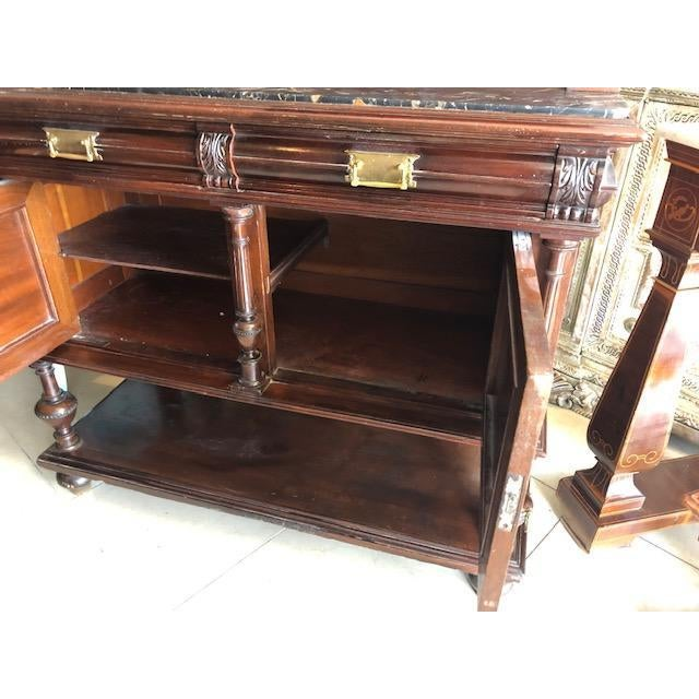 Metal Antique French Marble Top Cupboard Server For Sale - Image 7 of 8