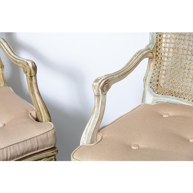 Pair French Louis XV Chairs With Caned Back & Seat For Sale - Image 4 of 13