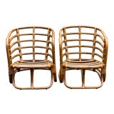 Image of Vintage Bamboo Lounge Chairs - a Pair For Sale