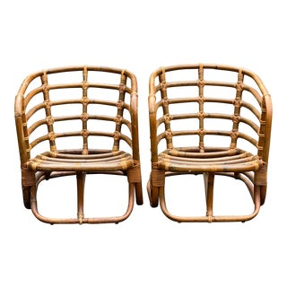 Vintage Bamboo Lounge Chairs - a Pair For Sale