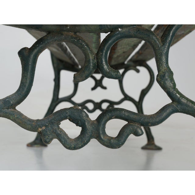 Metal Antique French Cast Iron & Wood Garden Bench For Sale - Image 7 of 13