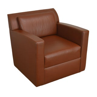 Bernhardt Design Brown Leather Club Chair For Sale