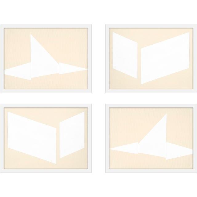 "Contemporary Medium ""Compositions in Cream, Set of 4"" Print by Jason Trotter, 40"" X 30"" For Sale - Image 3 of 3"