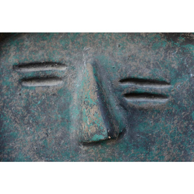 Mid 20th Century Vintage Modernist Green Ceramic Tiki Face Sculpture For Sale - Image 5 of 13