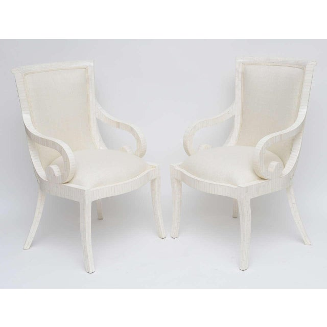 Immaculate, totally restored pair of tessellated bone armchairs, upholstered in a matching off-white raw silk.