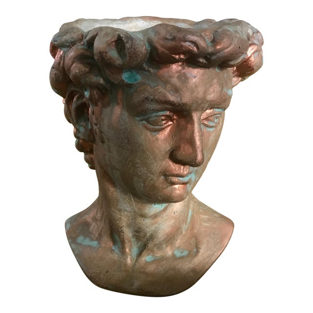 Michelangelo's David Bust Copper Patina Indoor Outdoor Head Planter For Sale