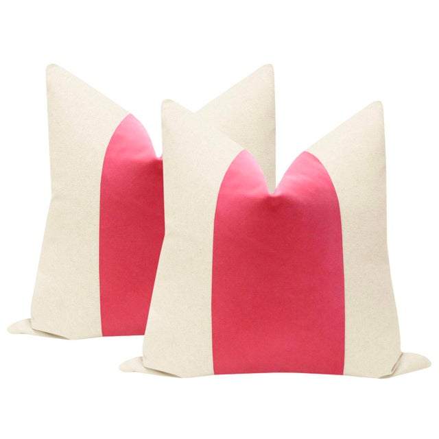 "2010s 22"" Rosé Pink Velvet Panel & Linen Pillows - a Pair For Sale - Image 5 of 5"
