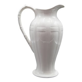 Antique Large Belgian White Ironstone Pitcher For Sale